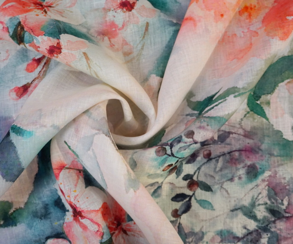 digital printed linen blossoms