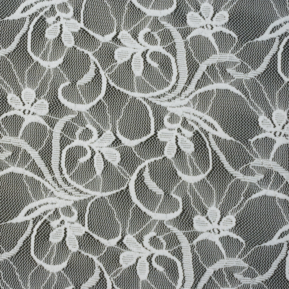 Stretch Lace Floral White 3631 2 Gala Fabrics